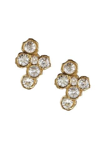 18k yellow gold and white sapphire earrings
