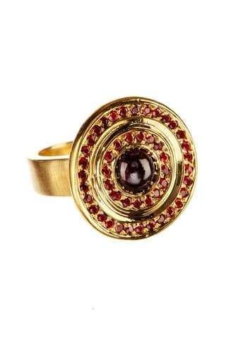 Bullseye Ring + Garnets