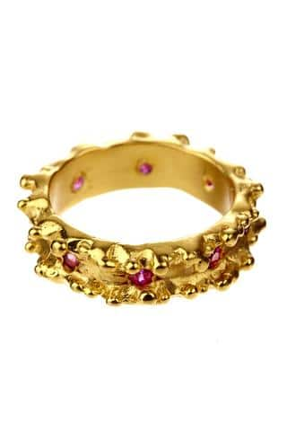 18k gold and rubies ruffle wedding ring