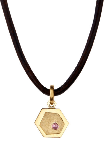 18K gold and ruby honeycomb charm necklace