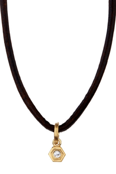 18K gold and diamond honeycomb charm necklace