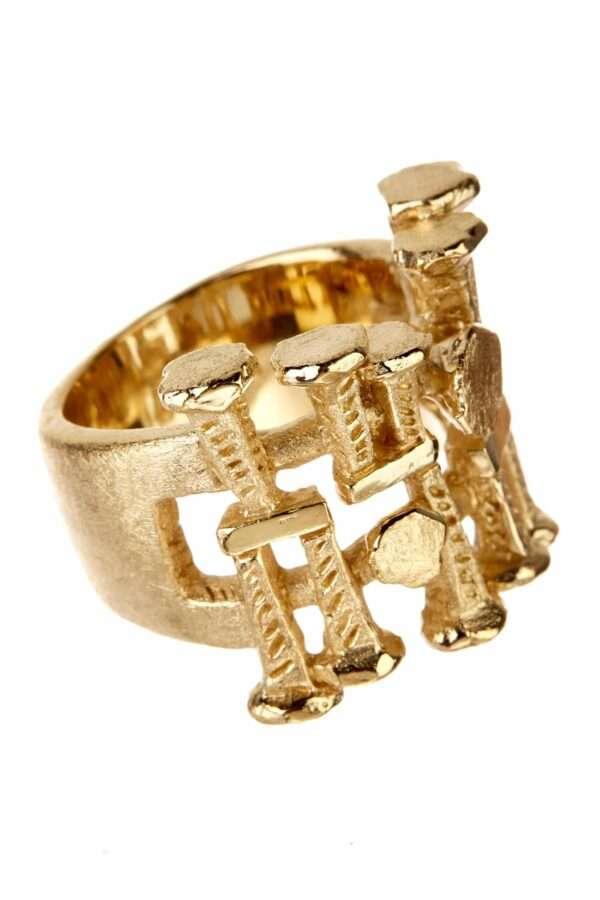 18K gold nailhead Vestal ring